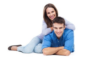 Young couple over white background